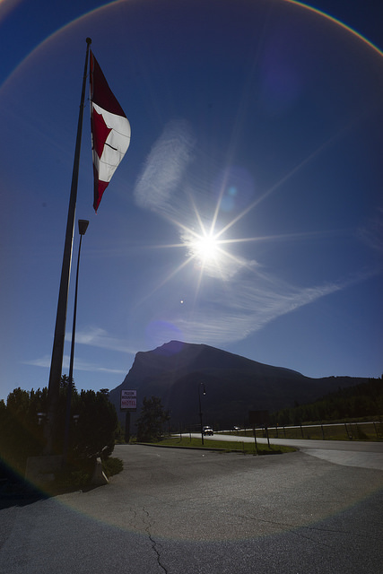Canadian flag by the Trans-Canada Highway at Pigeon Mountain, Alberta